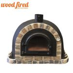 BLACK PRO-DELUXE STONE FACE CAST DOOR  WOOD FIRED PIZZA OVEN 100CM